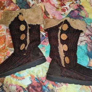Muk Luks Malena Red Marl Sweater Boot